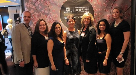 The event sponsor Patrick Perus (Polycor, Inc) with members of the WIS Steering Committee: Allyson Humphries (Walker Zanger), Brie Pfannenbecker (Connecticut Stone Supplies, Inc), Kathy Spanier (Coldspring), Kathleen Carle (J.C. Stone, Inc.), Tiffany Aryeh (Amalfi Stone & Masonry), and Kim Dumais (Miller Druck Specialty Contracting, Inc.). Not Pictured: Diane Bridges (Pacific Shore Stones) and Jennifer Sayles (TexaStone Quarries).