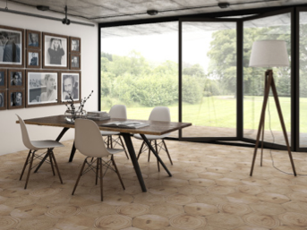 Dacha from Ceranosa combines a hexagonal format with cross-cut wood motif for delightful effect.