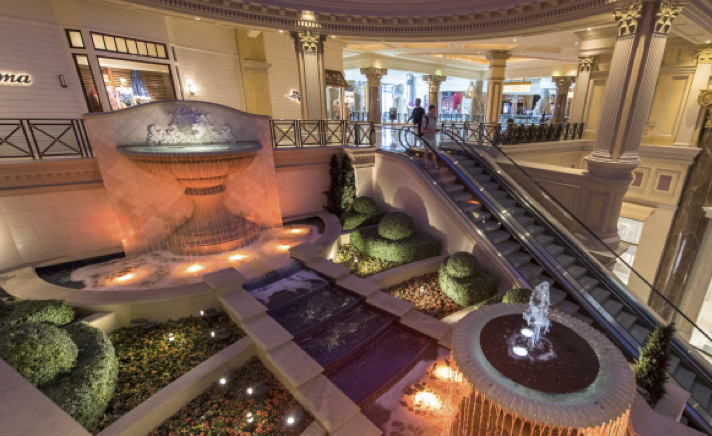 Top two tiers of the fountain in The Forum Shops at Caesars Palace in Las Vegas, Nev.
