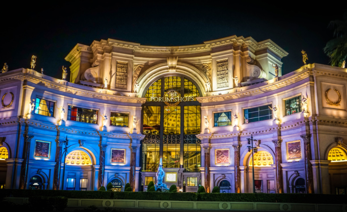 The Forum Shops at Caesars Palace feature a scale replica of the Italian Trevi Fountain and Gian Lorenzo Bernini's Triton Fountain.
