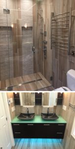 "This project entailed a curbless shower, with 6""x36"" wood-look plank tile walls and floor with mirrored features on end walls. Electric floor warming was installed in the main floor, with a linear drain in the shower. Video https://www.youtube.com/watch?v=JgDILsDBezg"