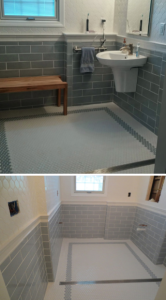 This bathroom featured Walker Zanger tile throughout, with linear drain. View one of several videos of this bathroom: https://www.youtube.com/watch?v=i7MMveaLPM8