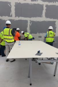 The 25' x 36' wall of Fiandre 5' x 10' porcelain gauged panels in the two-story office building were deftly installed by NTCA Five Star Contractor David Allen Company (DAC) with support from MAPEI and European Tile Masters (ETM).
