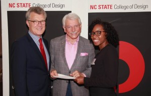 Accompanied by College of Design Dean Hoversten, Robert Roberson (on right), David Allen Company's Chairman, presents the 2016 David Allen Company Scholarship to Architectural Student Amanda Fuller.